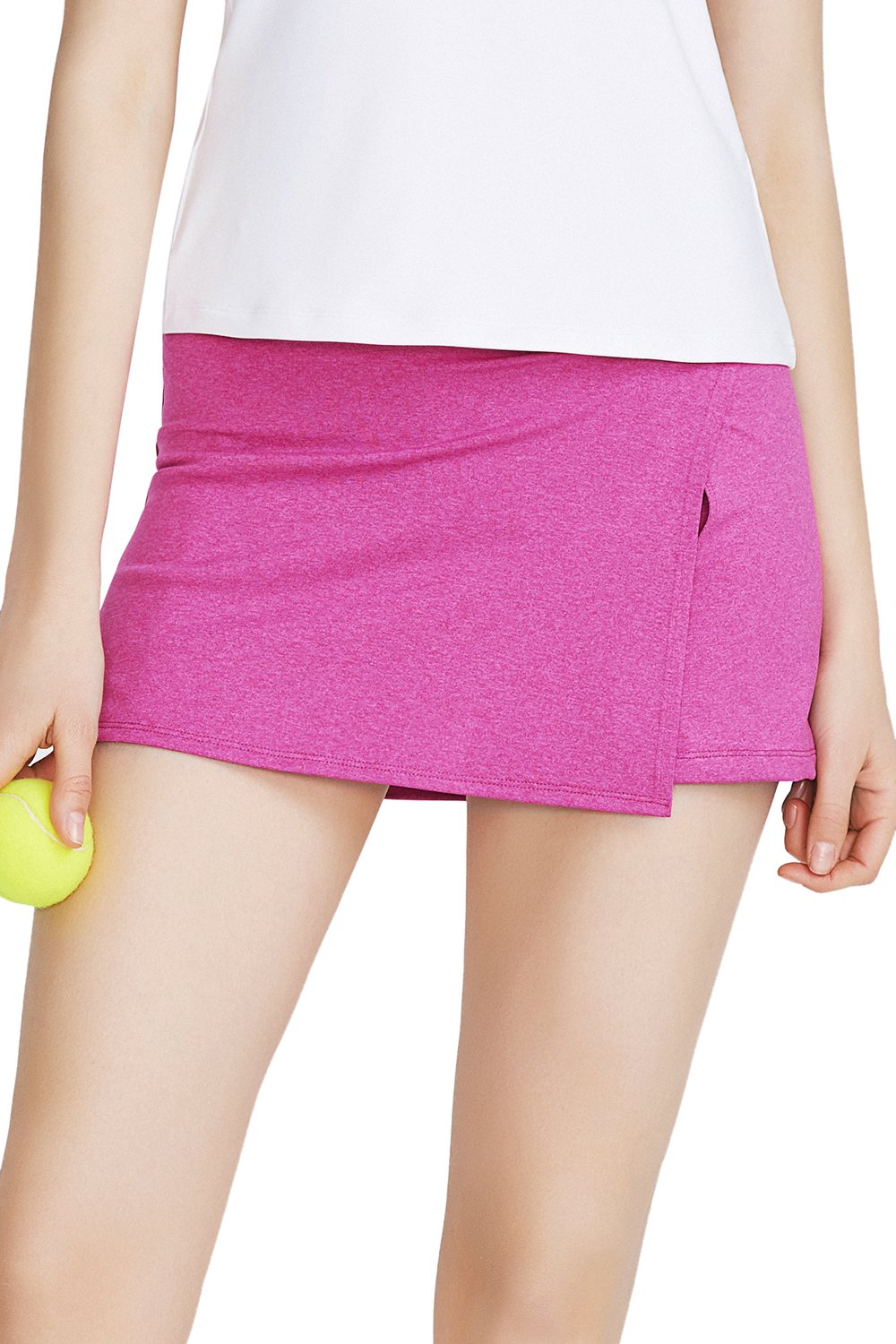 32e-SANERYI Women's Tennis Skirt Mid Waist Skort Side Pocket-Fuchsia