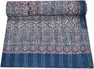 Sophia-Art Queen Size Hand Block Print Kantha Quilt 90x108 Inch Ajrakh Kantha Bedspread Vegetable Dye Kantha Blanket Indigo Print Ajrakh Kantha Quilt (Blue red 1)
