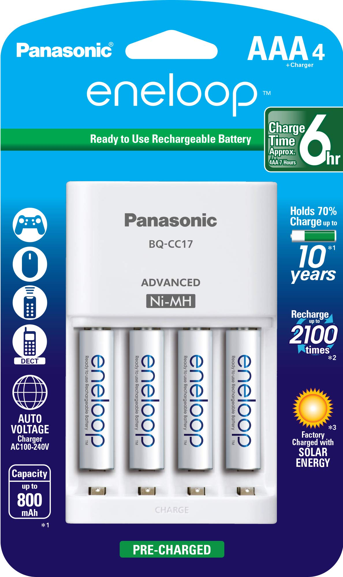 Panasonic K-KJ17M3A4BA Advanced Individual Cell Battery Charger Pack with 4 AAA eneloop 2100 Cycle Rechargeable Batteries