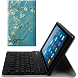 Fintie Slim Keyboard Case for All-New Amazon Fire HD 8 (7th Generation, 2017 Release), Slim Shell Lightweight Stand Cover with Magnetically Detachable Wireless Bluetooth Keyboard, Blossom