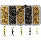 Easy Catch 300pcs/box Fishing Barrel Swivel 100% Copper Extra Strong Ball Bearing Fishing Swivels Accessories Tackle Kit-Size 2 4 6 8 10
