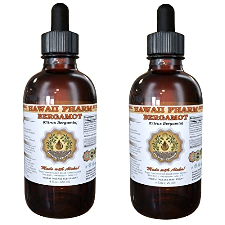 Bergamot Liquid Extract, Bergamot Citrus Bergamia Dried Fruit Peel Powder Tincture Supplement 2×4 oz