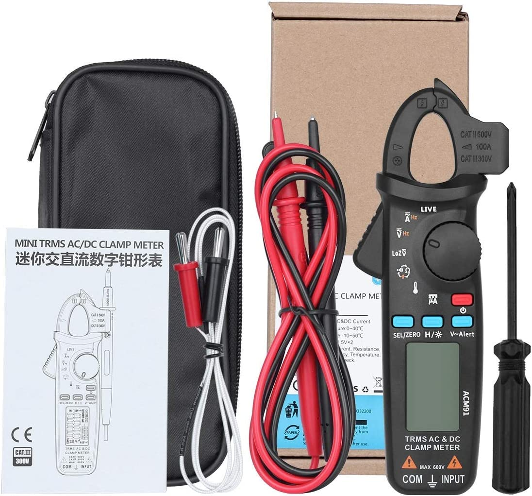 KONGZIR ACM91 Digital Clamp Meter AC//DC Current and 1mA TRMS Auto Range Live Check NCV