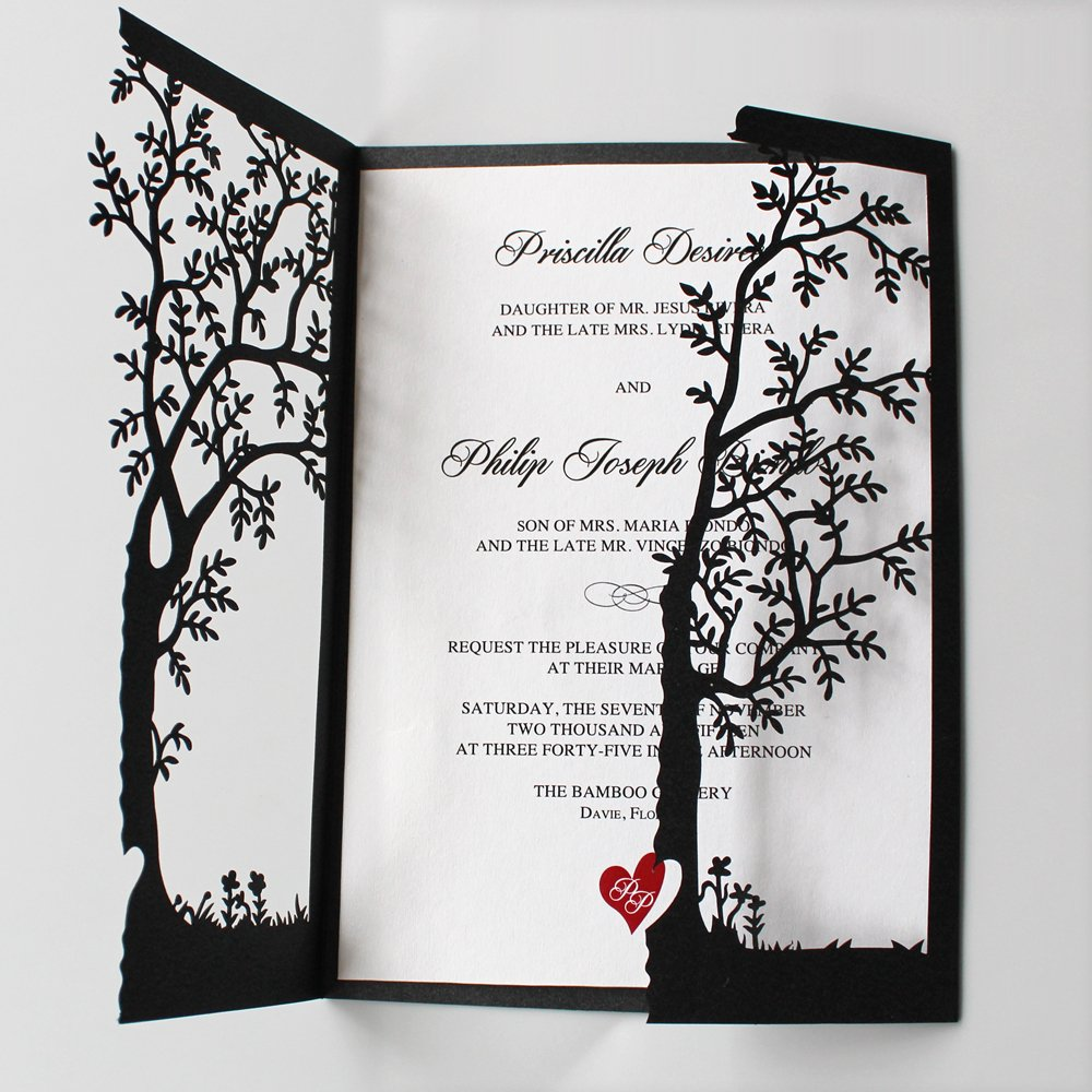Black Wedding Invitations, Tree Invitations, Red Heart Wedding Invitation Cards (80) by After