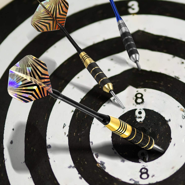 1 Flight protector dardos amigables para principiantes 10 Flights dise/ñados sacapuntas de dardos y estuche de regalo 6 ejes adicionales Dardos de acero profesional de 6 piezas con punta de metal