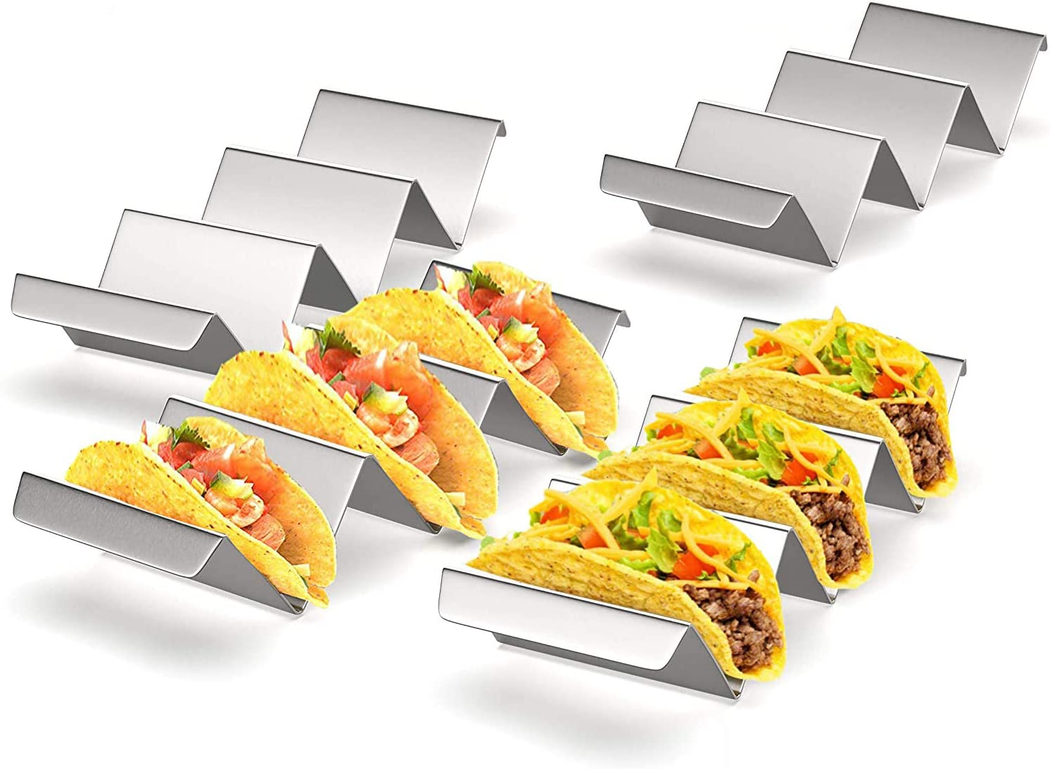 Taco Holders 4 Packs - Stainless Steel Taco Stand, Baking Taco Plates Taco Holder Tray 12 Truck Rack, Taco Accessories with Smooth Handles Edge Safe for Taco Tuesday Party, Dishwasher, Oven, Grill