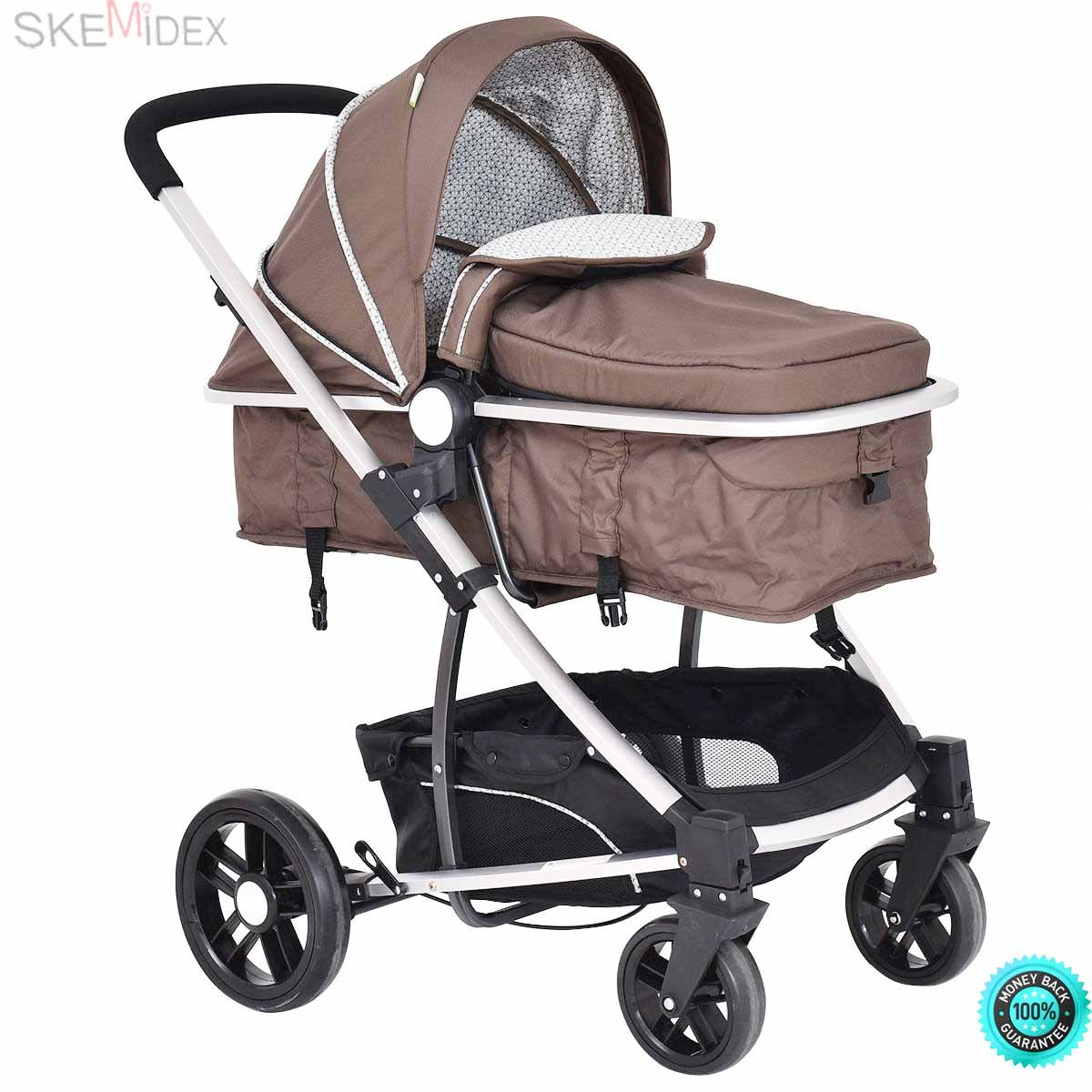 SKEMiDEX---2 In1 Foldable Baby Stroller Kids Travel Newborn Infant Buggy Pushchair Coffee This is our new 2 in1 baby stroller, which has three colors, including black Coffee and pink