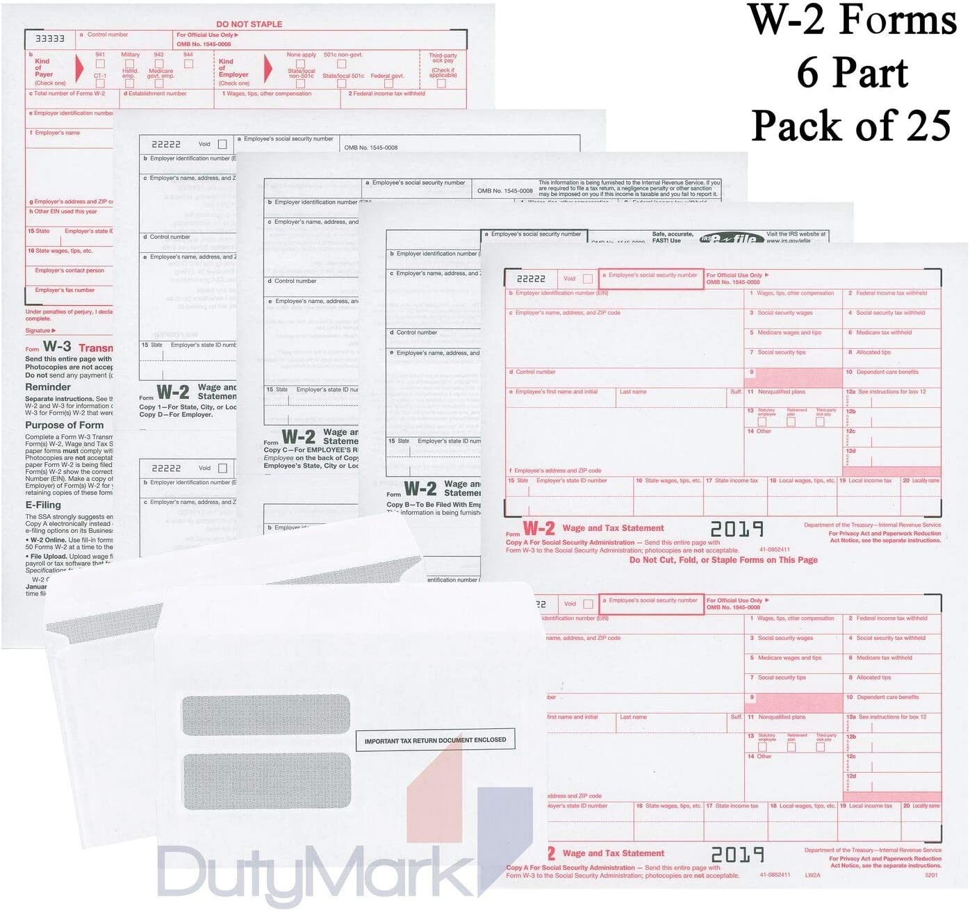 (2019) W-2 Tax Forms (6-Part) Kit für 25 Employees mit Self-Seal Envelopes und W-3 Transmittal für Quickbooks und Accounting Software, 2019 W2