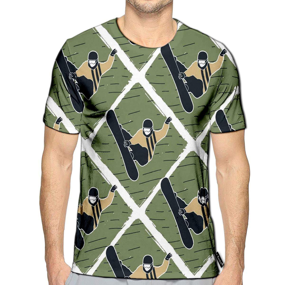 3D Printed T-Shirts Snowboard Man Winter Ski Retro Color Design Pattern with SNO