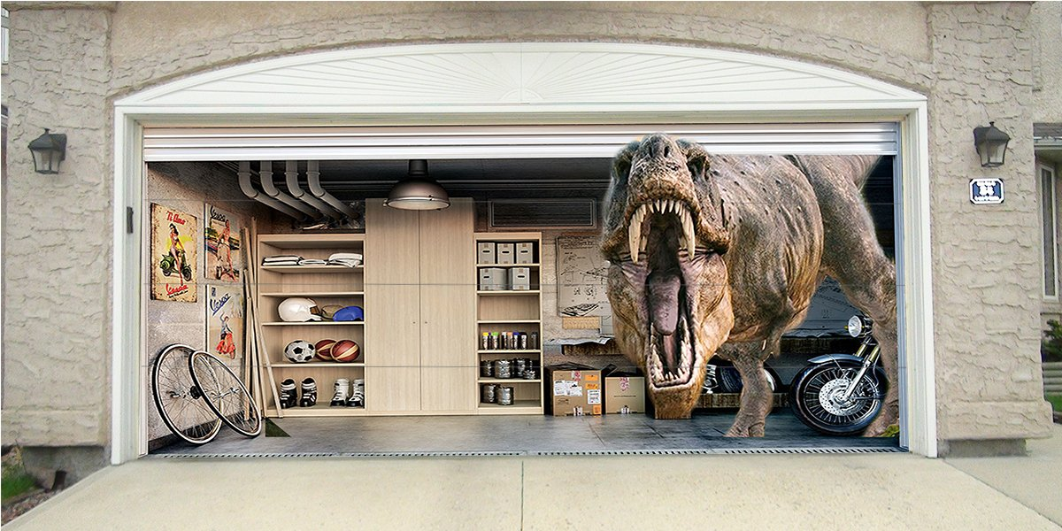 Re-Usable 3D Effect Garage Door Cover Billboard Sticker Decor Skin - Dinosaur - Sizes to fit your Garage.