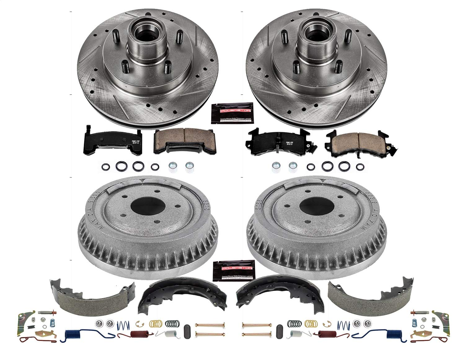Drum and Shoe Kits Rotor Power Stop Front /& Rear K15043DK Performance Pad