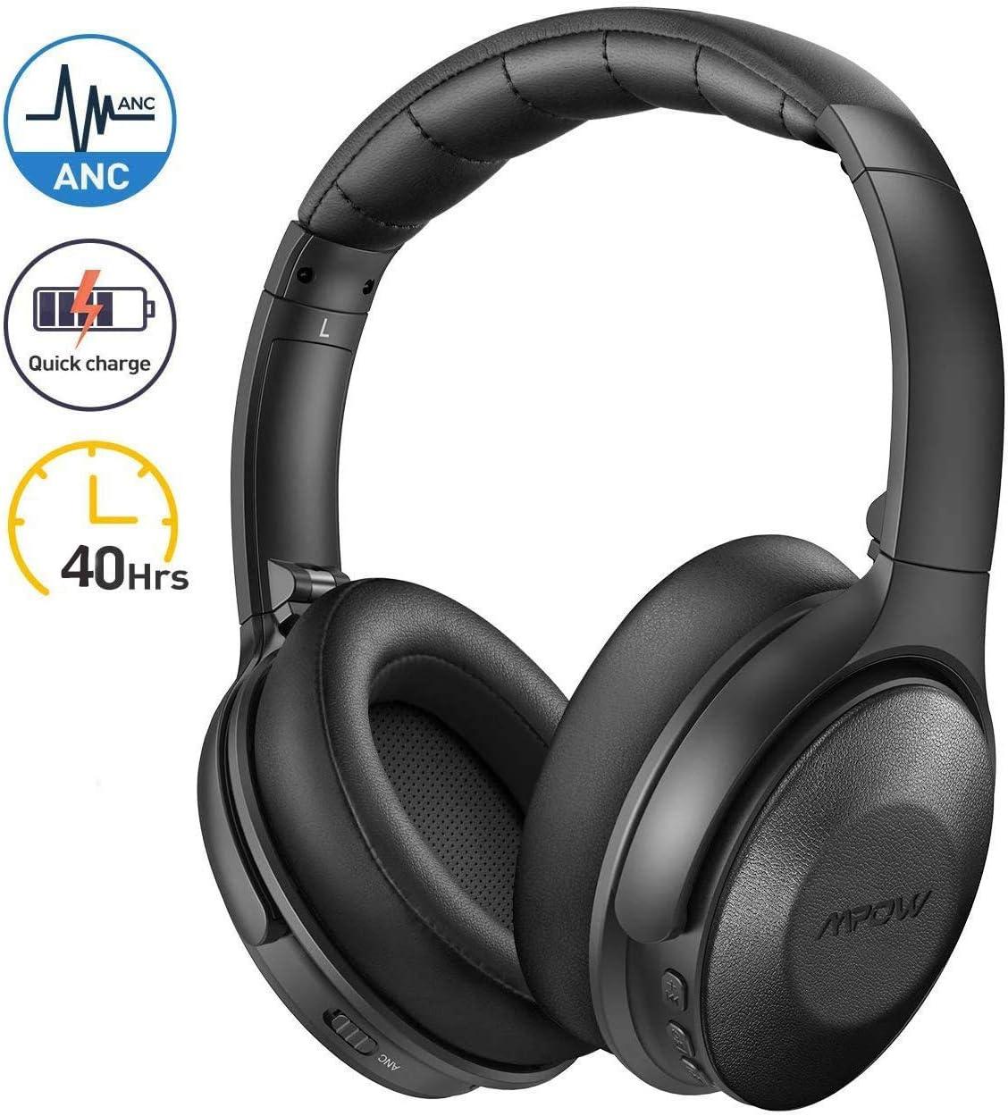 Mpow H17 Auriculares con Cancelación de Ruido, Auriculares Diadema Bluetooth con Micrófono CVC 6.0, Carga Rápida, 40 Hrs de Juego, Bajo Potente, Cascos con Cancelación de Ruido para TV/Móvil/PC