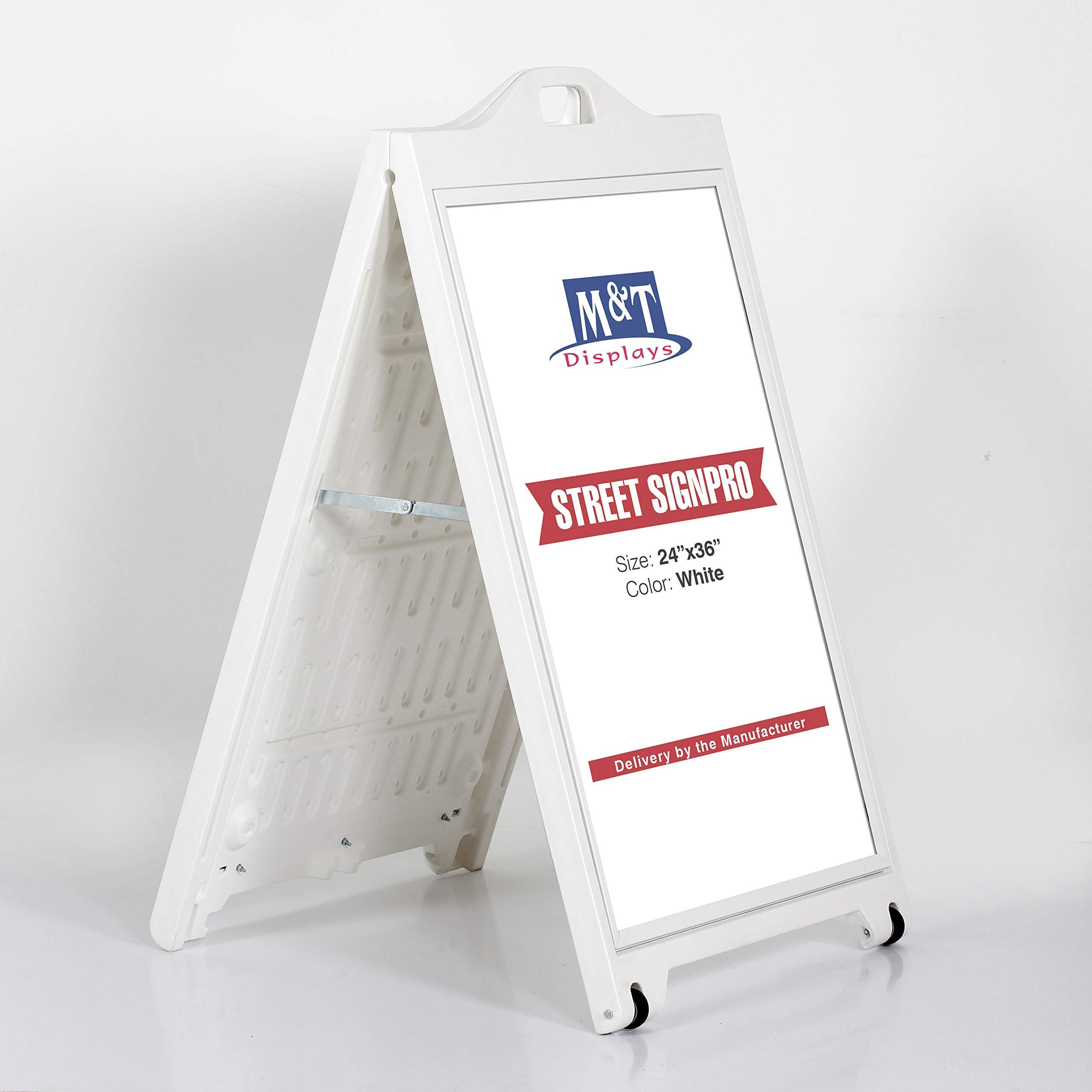 Street SignPro Poster with Protective Cover, A-Frame Sidewalk Curb Sign, Folding Portable Double Sided Advertising Sandwich Board Display (24x36 with Lens, White)