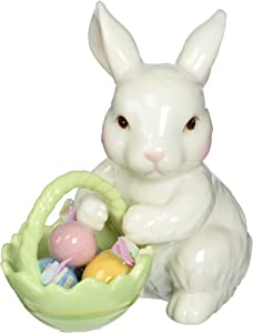 Cosmos 10593 Fine Porcelain Bunny with Easter Basket Figurine, 3-3/4-Inch,White