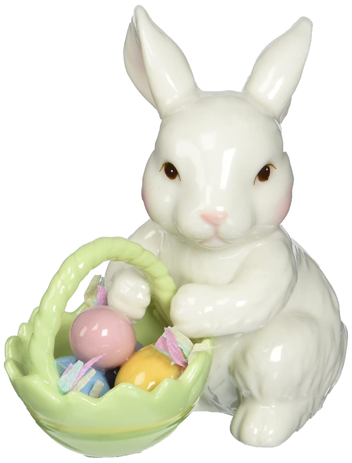 Amazon.com: Cosmos 10593 Fine Porcelain Bunny With Easter Basket Figurine,  3 3/4 Inch: Home U0026 Kitchen