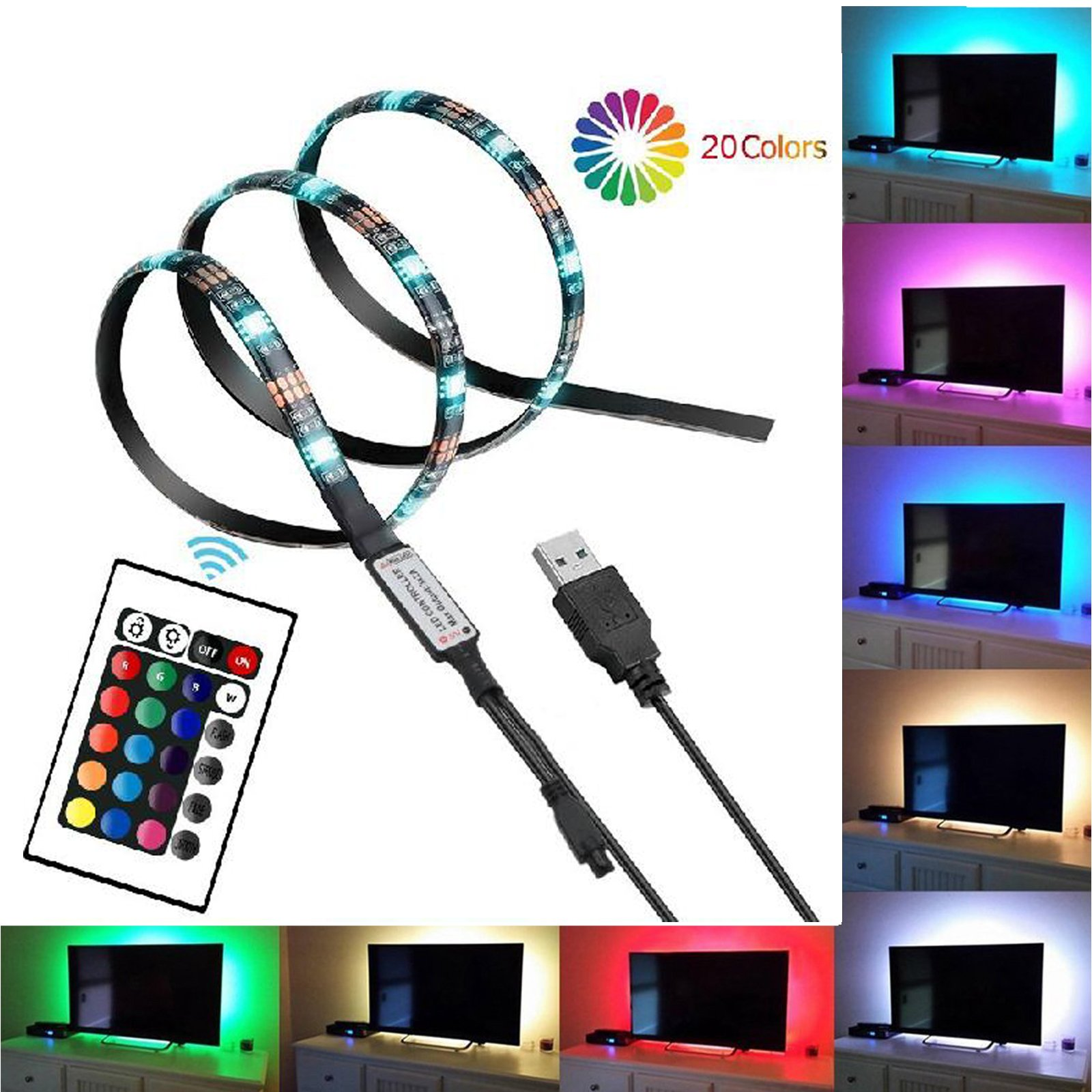 Smartdio Bias Backlight Strip for HDTV USB LED Multi Color RGB Lights Neon Accent Lighting Kit for Flat Screen TV LCD, Desktop PC (20 Multi Colors Reduce eye fatigue and increase image clarity)