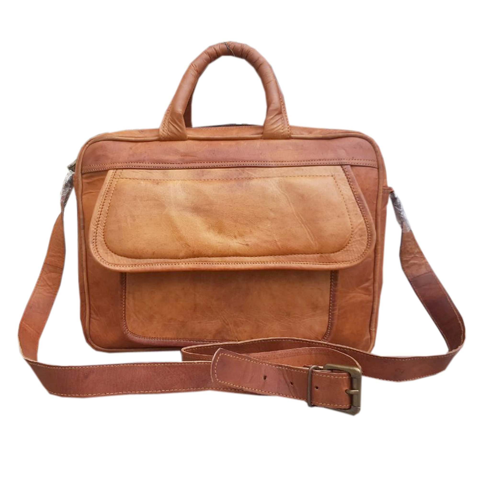 Handcraft's ''Charles'' Genuine Leather Vintage Brown Mini Laptop Messenger Bag 9x13 Inch by Handcraft