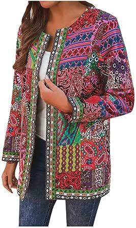 LianMengMVP Cardigan Bolsillo Abrigo de Algodón de Manga Larga Vintage Chaqueta de Punto con Estampado Flores étnico Retro Mujer Abrigos Coloridos de Halloween Navidad Fiestas