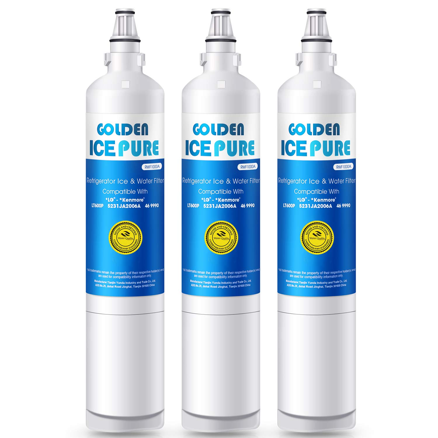 GOLDEN ICEPURE LT600P Replacement Refrigerator Water Filter Compatible with LG LT600P, 5231JA2006A, 5231JA2006B, KENMORE 469990 (3-Packs)