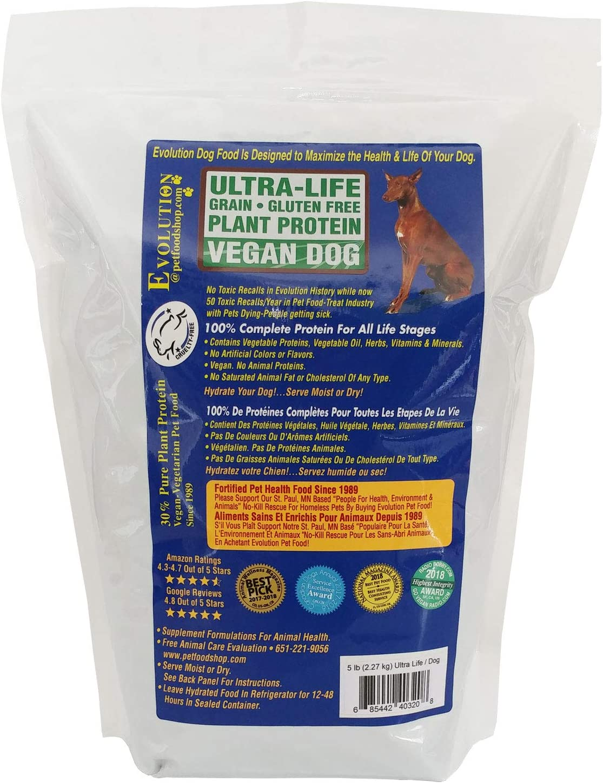 Evolution Diet Vegan Ultra Life Dry Dog Food, Organic Sunflower Seeds, Organic Peas, High Protein Kibble