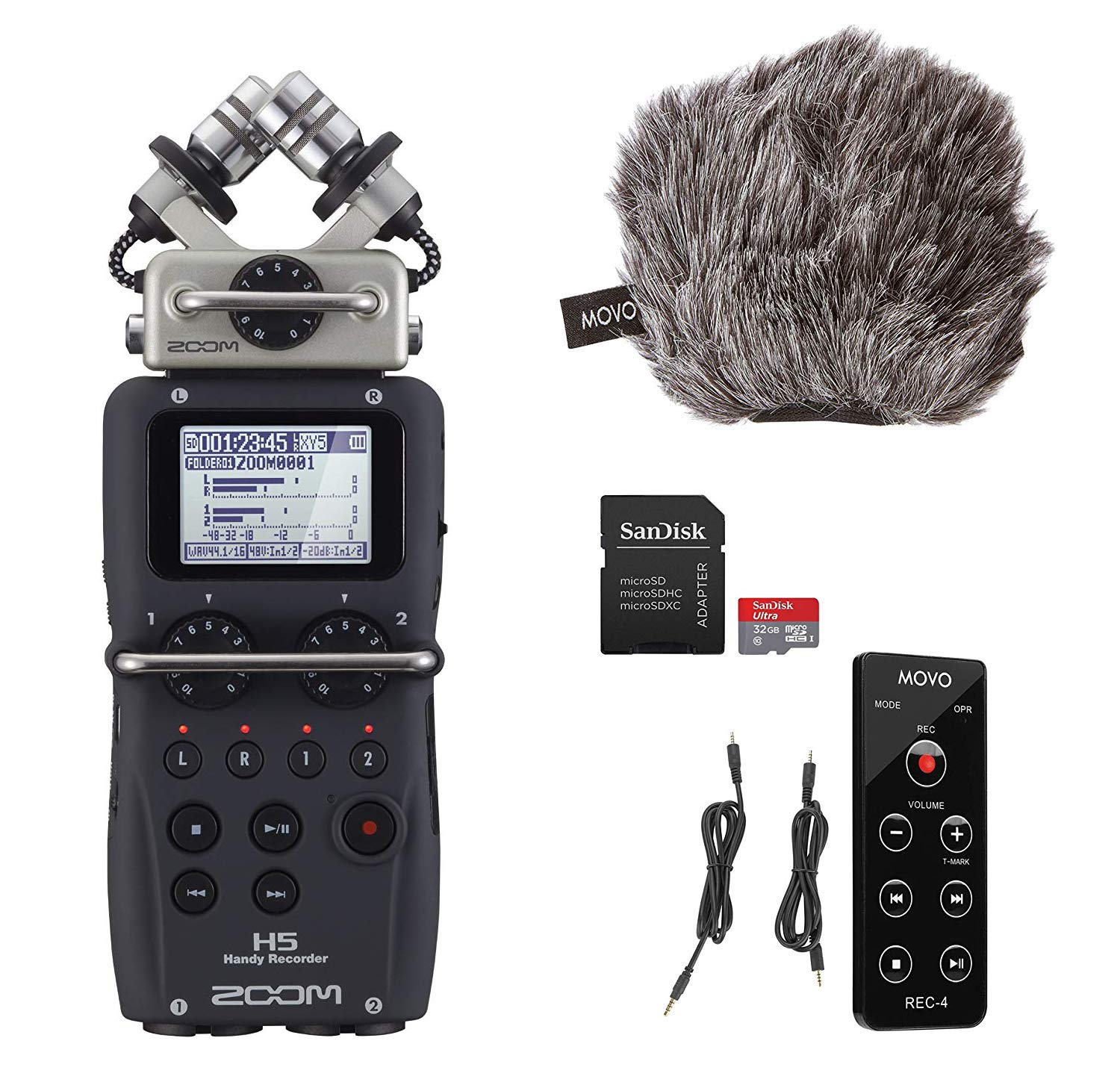 Zoom H5 4-Track Handy Recorder with Movo ESSENTIALS Bundle - Includes''Deadcat'' Windscreen, Remote Commander, and 32GB SDHC Memory Card