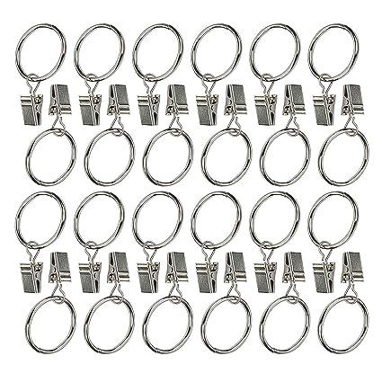 9a48db8a9d0 Amazon.com  Ogrmar 24Pcs Nickel plating Metal Curtain Clip Rings (24)  Home    Kitchen