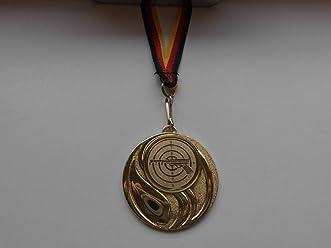 - Kicker Gold mit Alu Emblem 50mm Medaille Emblem 50mm Gro/ße Stahl 70mm Gold e111 Fu/ßball Fanshop L/ünen Medaillen Tischfu/ßball Medaillen-Band -