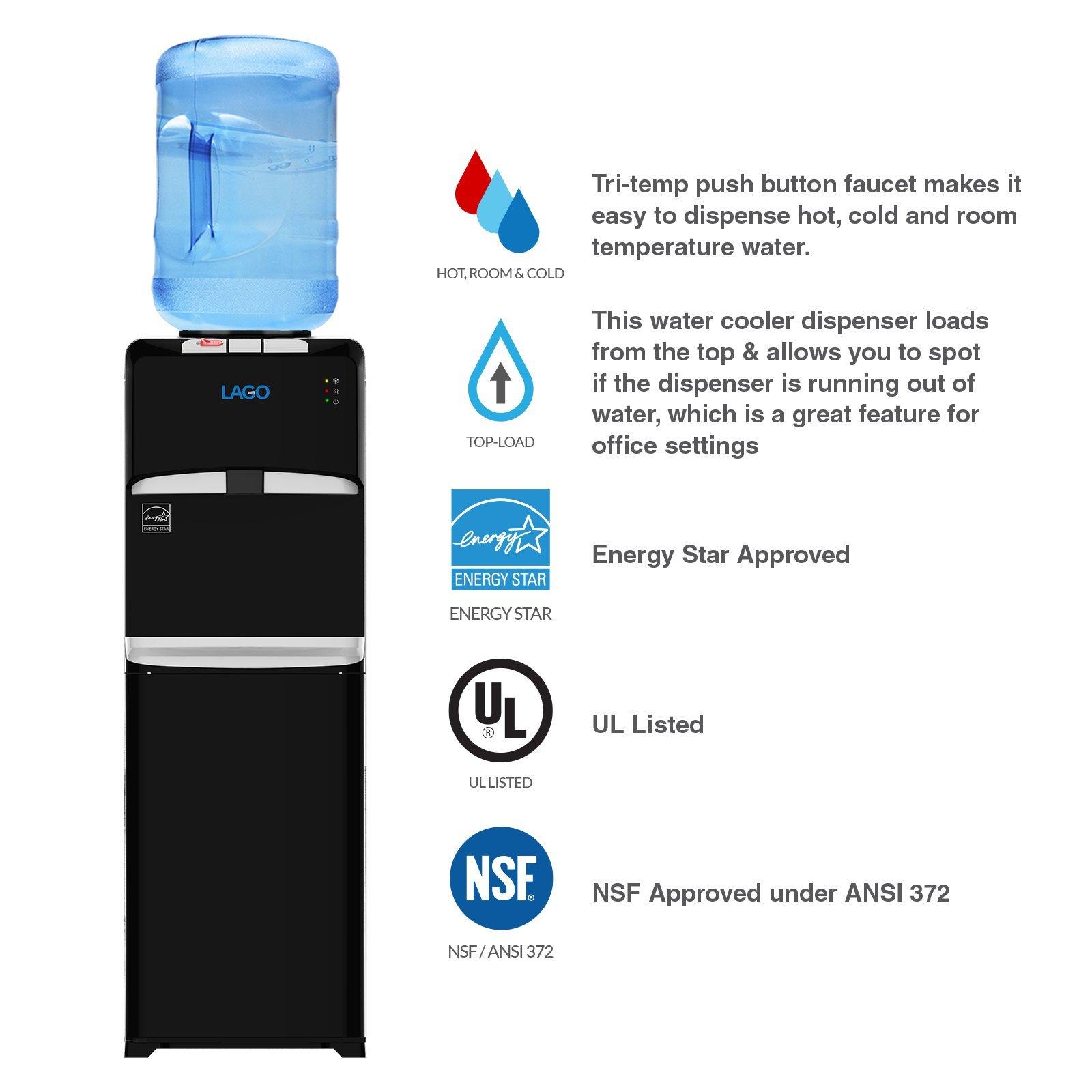 Lago Top Load Hot, Cold & Room Mini Black Water Cooler Dispenser by Lago (Image #2)