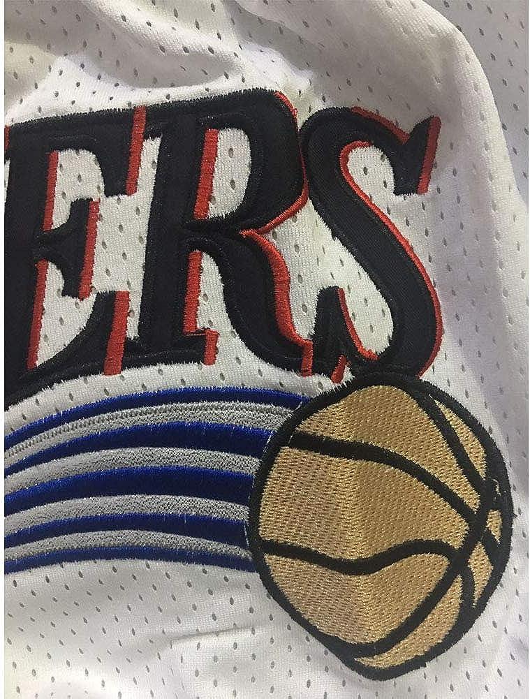 para hombre ligeros con bolsillo con cremallera transpirables Sixers pantalones cortos deportivos de baloncesto de secado r/ápido bordado estilo retro