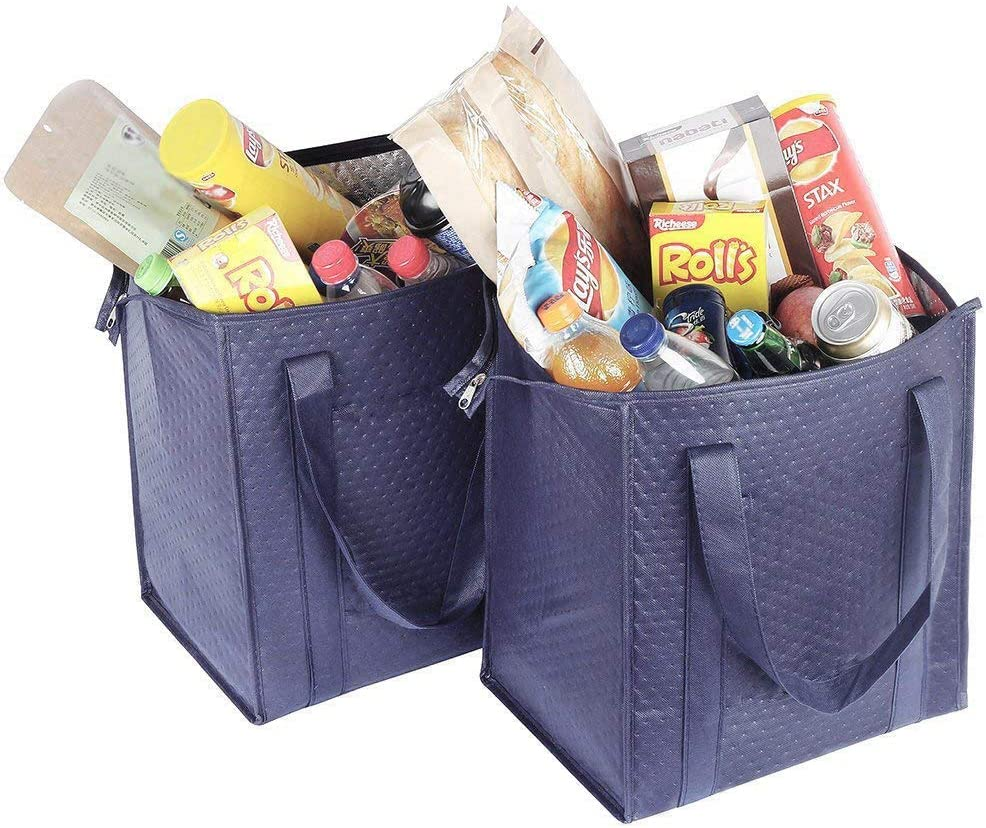 Insulated Lunch Bag Wine Cooler Thermo Tote Reusable Tall Water Bottle Carrier For Adults (LARGE SIZE-ST3131-(Navy))