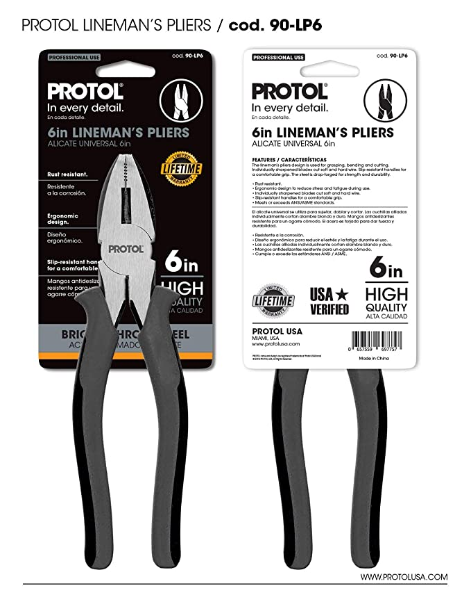 PROTOL Professional Lineman High Leverage Pliers 6 inches with side Cutter, Corrosion Resistance Carbon Steel Slip Joint Plier (90-LP6) - - Amazon.com
