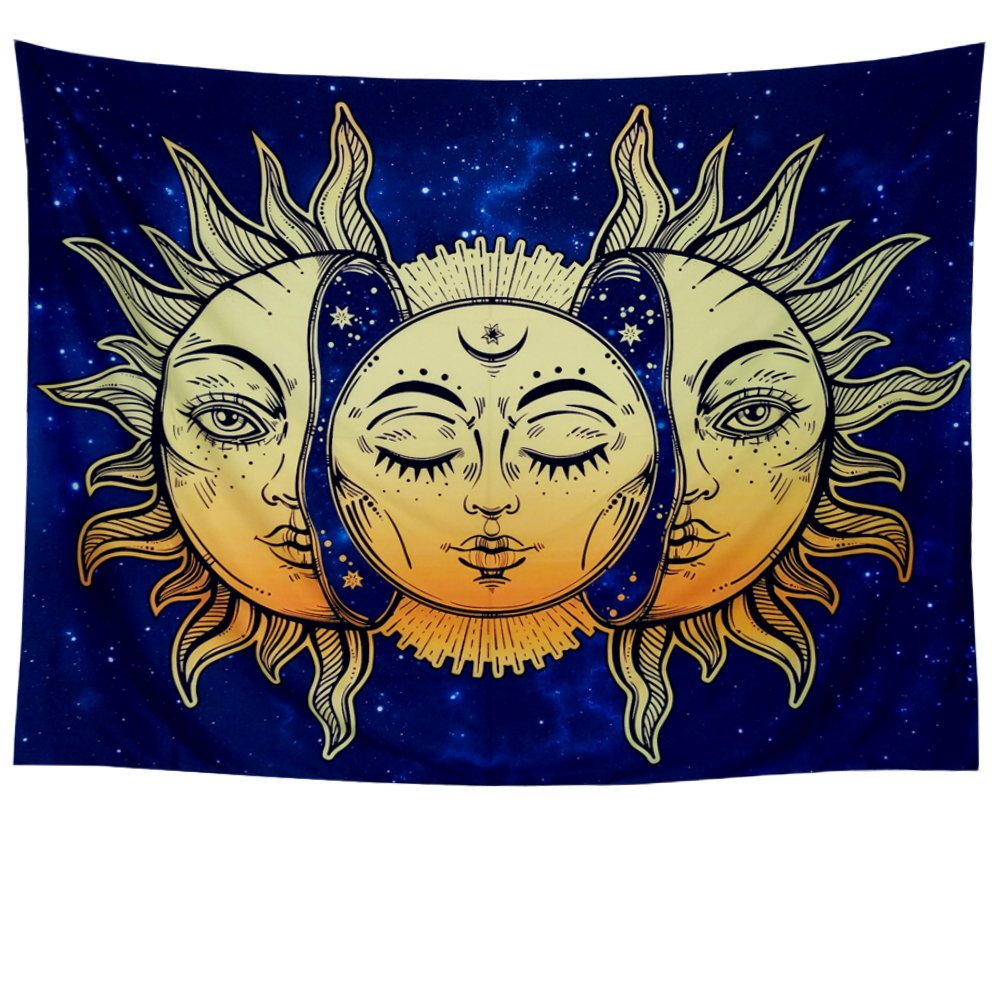 Amonercvita Psychedelic Tapestry Moon and Sun Tapestry Wall Hanging India Hippie Hippy Bohemian Tapestries Starry Sky Wall Tapestry Fractal Faces Mystic Tapestry for Bedroom Living Room Dorm by Amonercvita (Image #5)