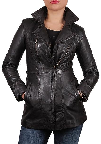 Brandslock mujeres piel de oveja larga chaqueta de cuero real (XS/6)