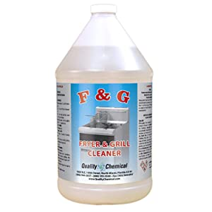 Quality Chemical Commercial Fryer and Grill/Griddle Cleaner - Mixture of liquid Caustic Soda. Super Strong !-1 gallon (128 oz.)