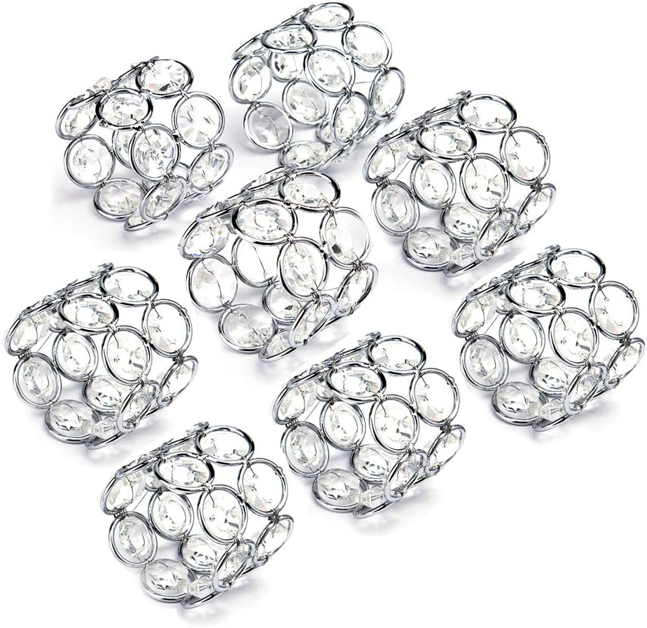Jucoan 8 Pack Silver Napkin Rings Ally Rhinestone Table Napkins Serviette Buckles for Valentines Day Sparkle Lotus Flowers Napkin Ring Holders Wedding Party Table Decoration