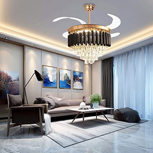 Crystal Ceiling Fan Chandelier Indoor Luxury Hiding Quiet 42 Inch Polished Gold Retractable Ceiling Fan Light LED 3 Color Setting Remote Control black