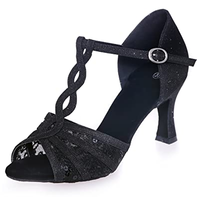 82ba583bb Elobaby Women Dance Shoes BR-57 Satin with Buckle PU Sandals Lace Glitter High  Heels