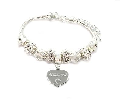 Amore Silver & Pink Flower Girl Bracelet with Crystals - Wedding Gift D0vBcgj1