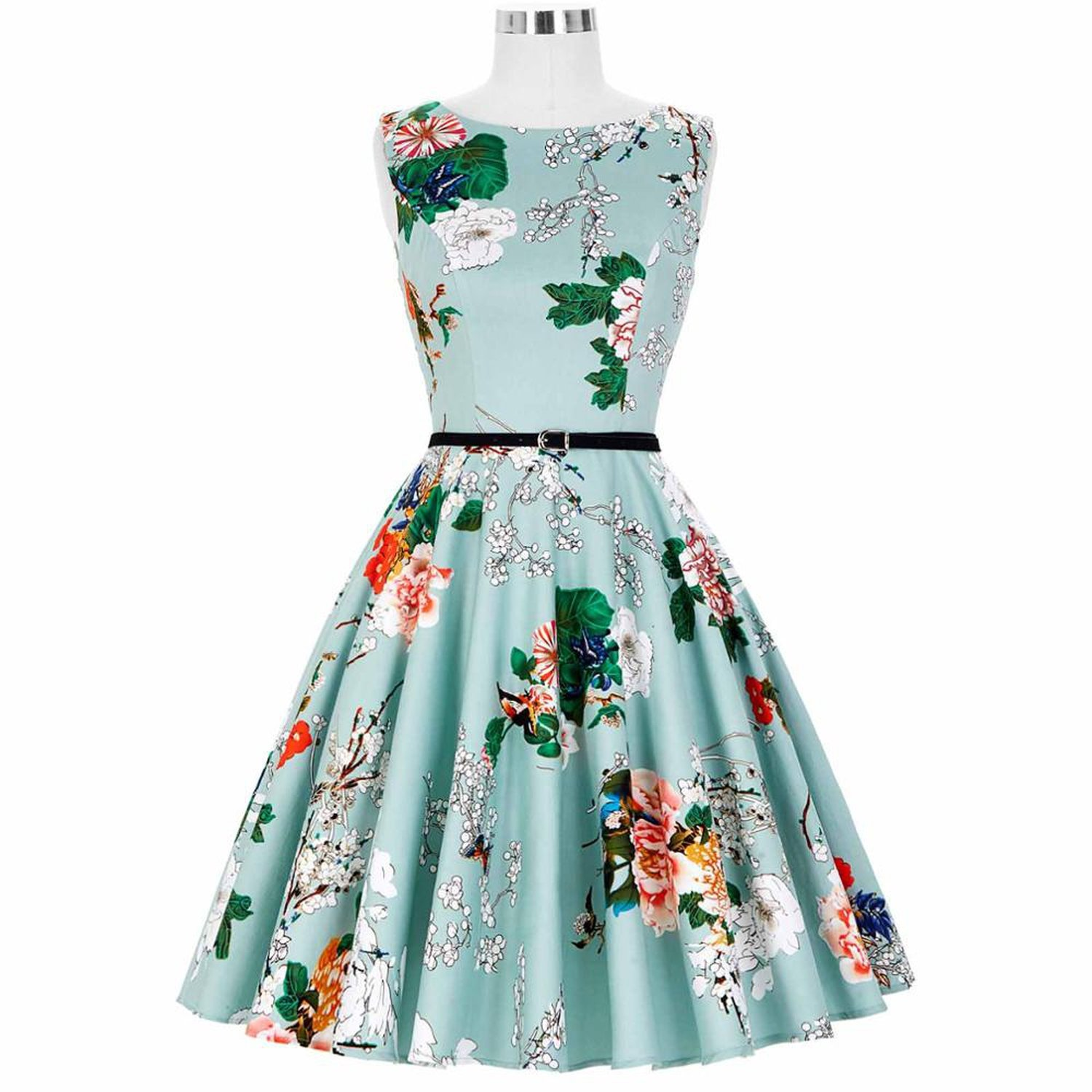 Big Size Audrey Hepburn Dresses Dress 2018 Floral Retro Pinup Rockabilly 50s Vintage Dresses Vestidos at Amazon Womens Clothing store: