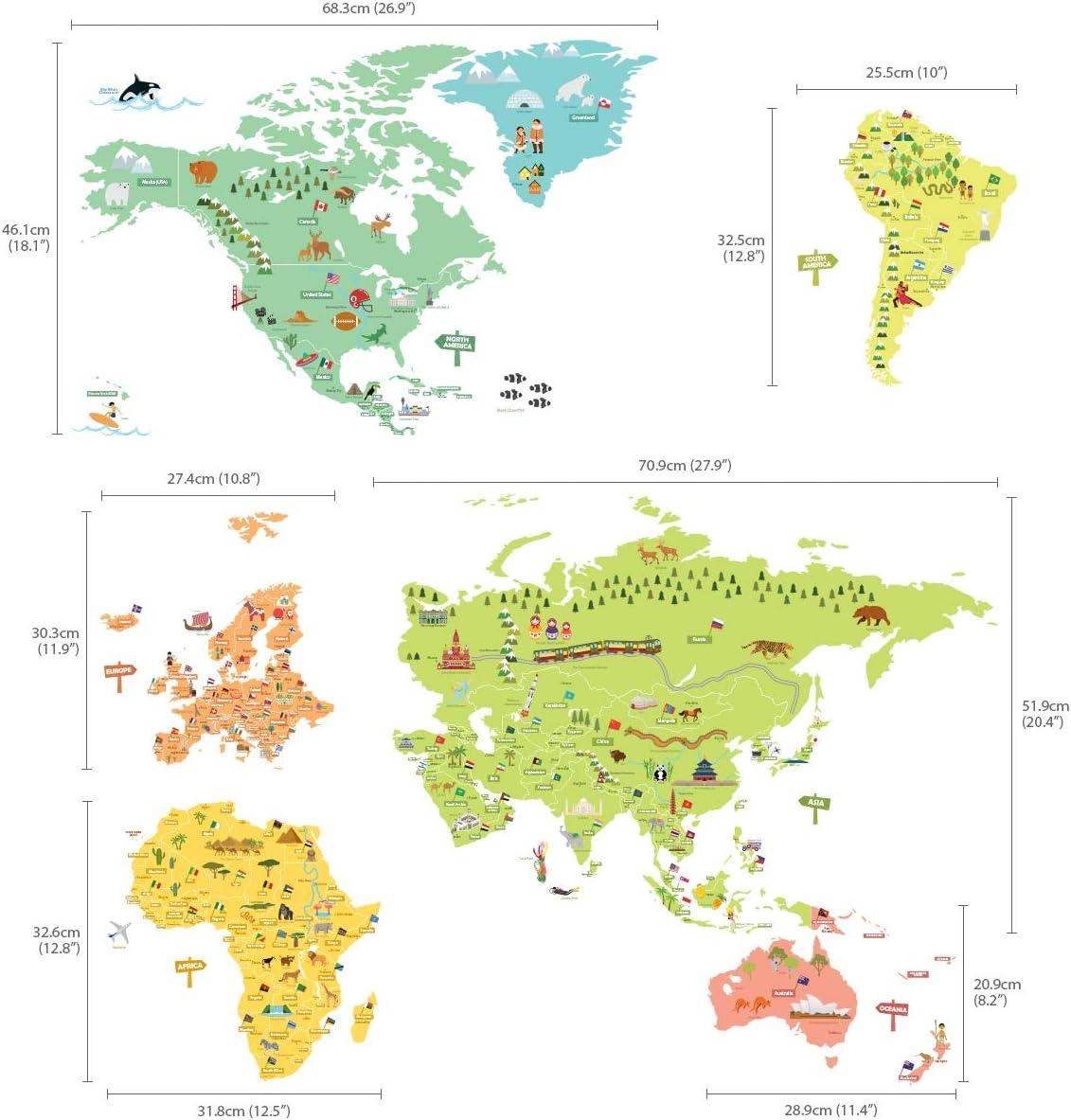 Extra Grandede DECOWALL DLT-1616N Mapamundi de Color Vinilo Pegatinas Decorativas Adhesiva Pared Dormitorio Sal/ón Guarder/ía Habitaci/ón Infantiles Ni/ños Beb/és English Ver.