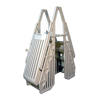 Vinyl Works Deluxe Above Ground Pool Step Entry System with Gate : Swimming Pool Ladders : Garden & Outdoor
