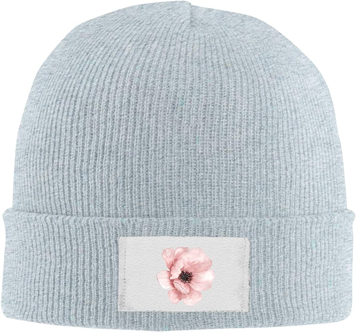 Skull Caps Pink Rose Winter Warm Knit Hats Stretchy Cuff Beanie Hat Black