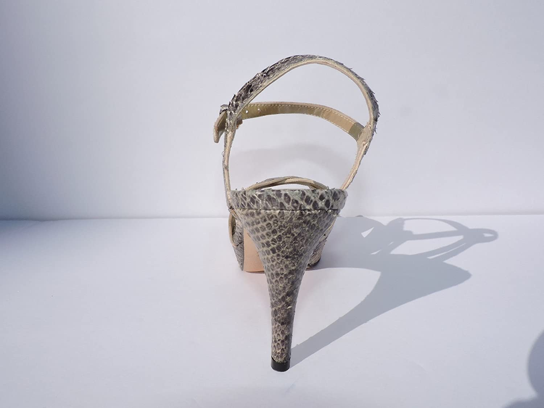 Stuart Weitzman Womens Snakeloopthru Snakeskin Platform 4 Heeled Sandals Open Toe Size 7.5 M
