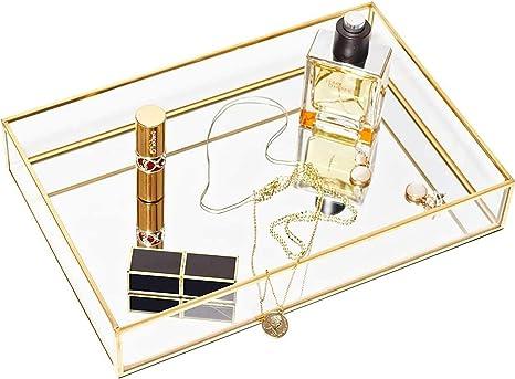 Base de Espejo de Vidrio GHFJD Bandeja de Almacenamiento de joyer/ía Delicada de Color Dorado Placa de organizaci/ón Decorativa cosm/ética de Escritorio para Dormitorio