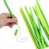 Green Leaf Like Grass-Blade Silicone Pens Fine Point Pen With Cover, Easy Flow Black Ink, Pack Of 12