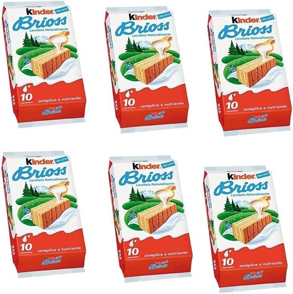 6x Kinder Ferrero Brioss Italian Sponge Snack with Milk Flavour Fillling 10x30g