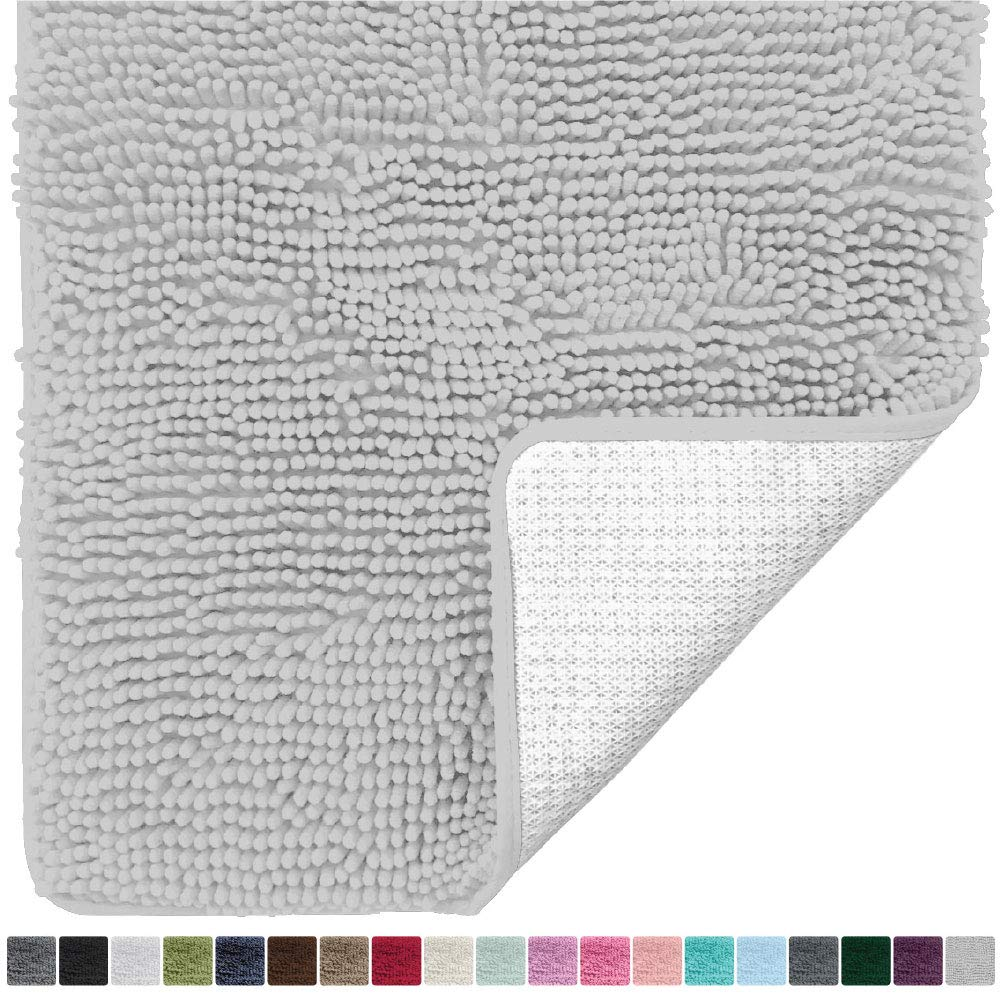 Gorilla Grip Original Luxury Chenille Bathroom Rug Mat (60 x 24), Extra Soft and Absorbent Shaggy Rugs, Machine Wash/Dry, Perfect Plush Carpet Mats for Tub, Shower, and Bath Room (Light Gray)