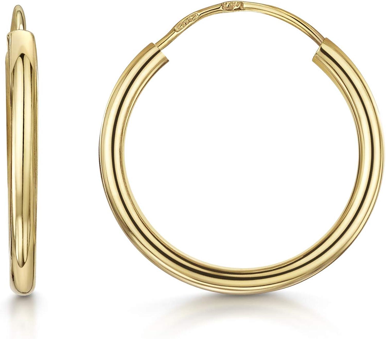 Amberta Aros en Oro Amarillo 9Kt - Pendientes de Aro Clásicos para Mujer - Varios Modelos