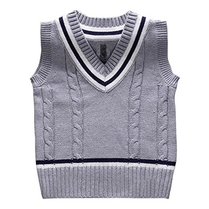 577e09e9f84b Amazon.com  Baby Boys Toddler V-Neck Solid Color Cable Knit Pullover ...