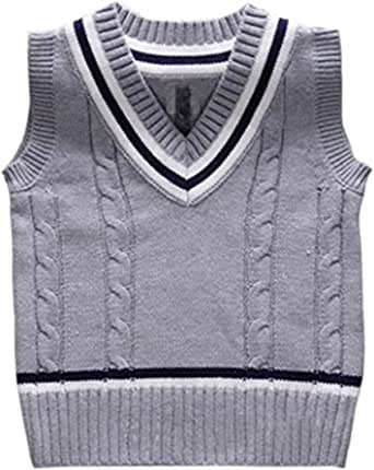 BOBOYOYO Boys Uniform Sweater Vest V-Neck Vests Twist Weave Cable Knit Sweater for Kids 5-12Y
